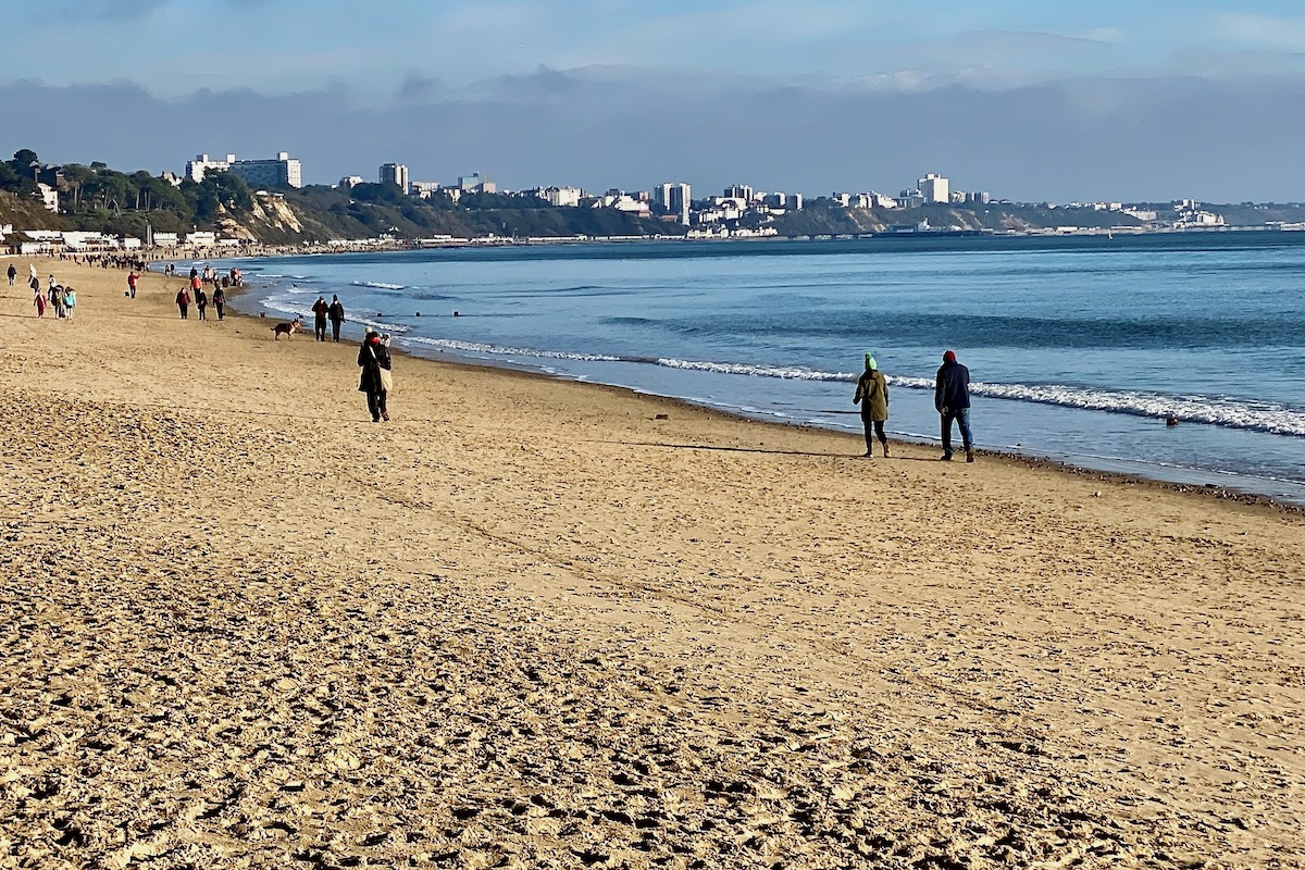 View of Bournemouth from Canford Cliffs Beach in Dorset