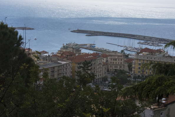 View of San Remo from Giardini Regina Elena at the top of La Pigna, Liguria in Italy