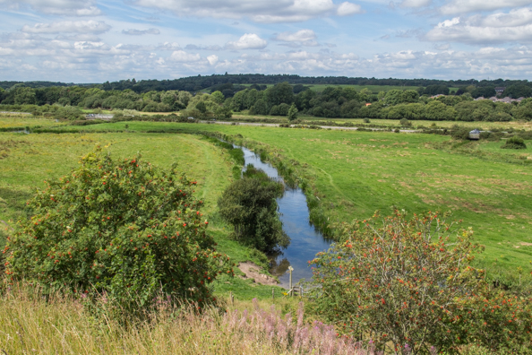 View of the Dorset countryside from the old Saxon Walls in Wareham, Dorset, UK