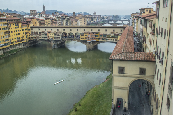View of the Vasari Corridor over Ponte Vecchio from the Uffizzi Gallery in Florence