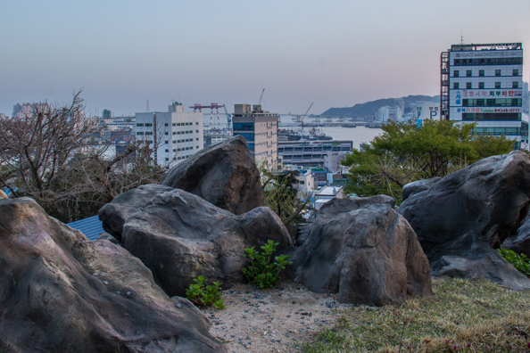 View over Busan and its Harbour from Yongdusan Park in Busan, South Korea