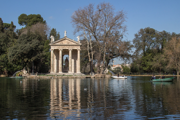 temple of Aesculapios in the Garden Lake of Villa Borghese, Rome