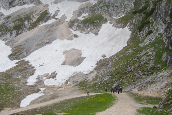 Walking down the Alpspitze in Garmisch-Partenkirchen in Bavaria