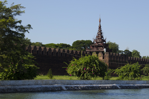 Walls of the Royal Fort in Mandalay in Myanmar