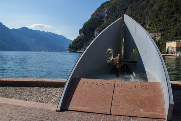The view of Lake Garda from the waterfront of Riva del Garda on Lake Garda in Italy