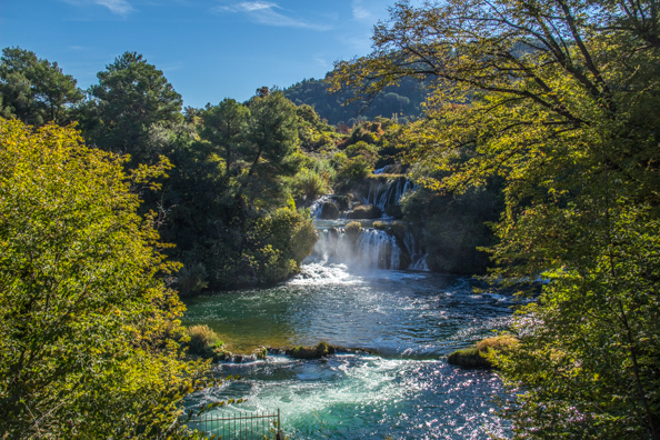 Water flowing over travertine formations in Krka National Park, Dalmatia, Croatia