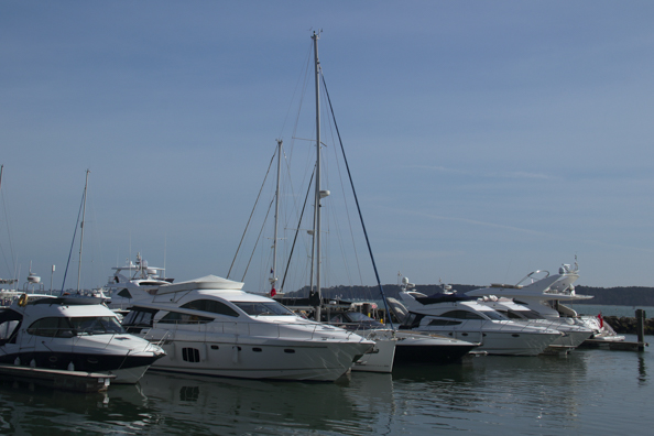 Yachts moored in Poole  Harbour
