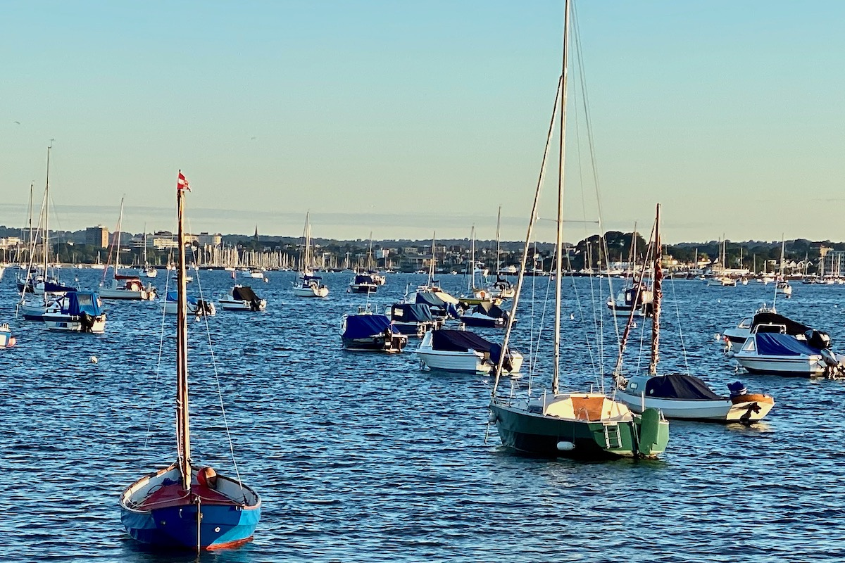 Yachts Moored Outside North Haven Yacht Club in Dorset
