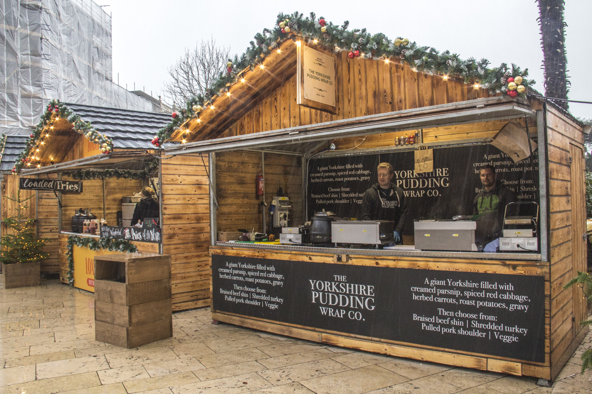 Yorkshire Pudding Wrap stall at the Christmas Market in Bournemouth  0217
